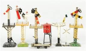 444: Lot of 8: Tin Signal Train Accessories.