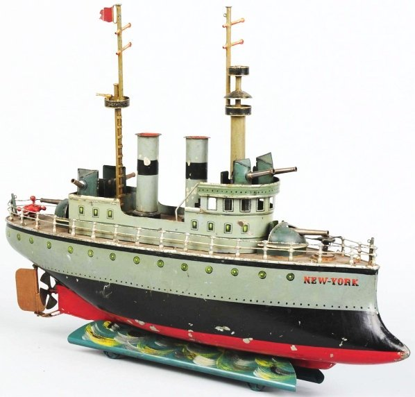 533: Hand-Painted Tin Marklin Clockwork Battleship Toy