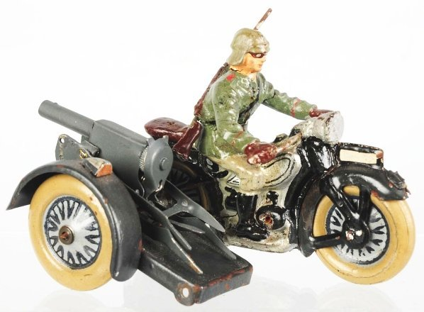 678: Lineol Motorcycle with Sidecar & Machine Gun.
