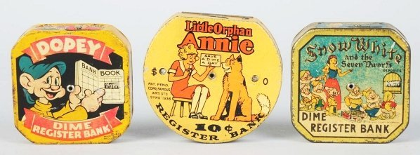 701: Lot of 3: Tin Litho Character Dime Still Banks.