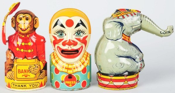 706: Lot of 3: Tin Litho Chein Character Still Banks.