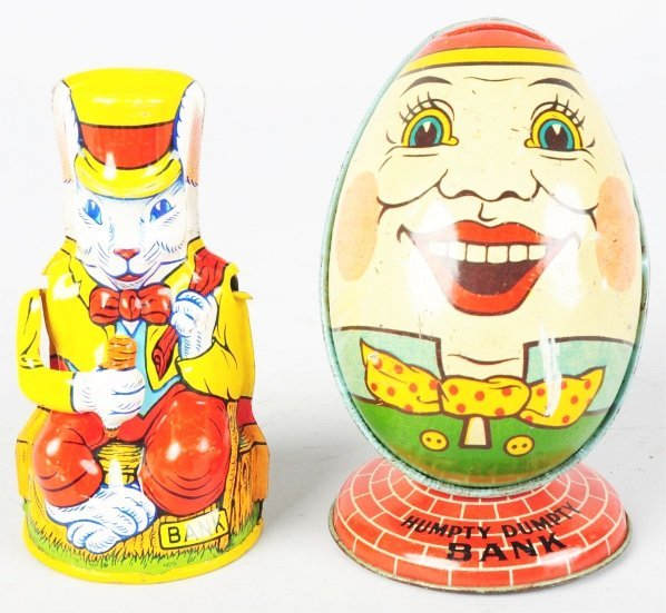 708: Lot of 2: Tin Litho Chein Character Still Banks.
