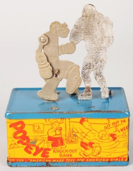 711: Tin Litho Chein Popeye Character Knockout Bank.