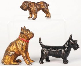 Lot Of 3: Cast Iron Dog Still Banks.