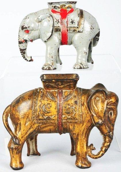 729: Lot of 2: Cast Iron Elephant Still Banks.