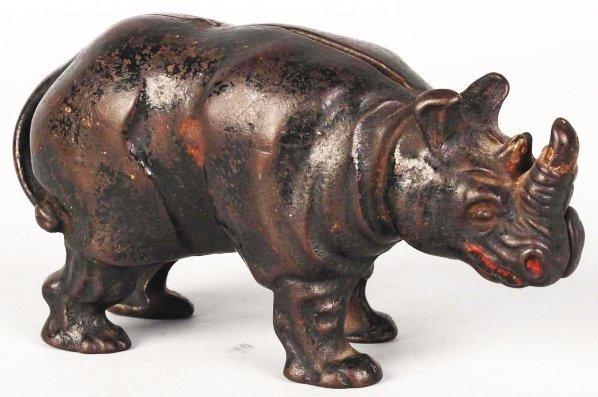 741: Cast Iron Rhino Still Bank.