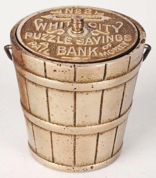746: Cast Iron White City Puzzle Savings Still Bank.