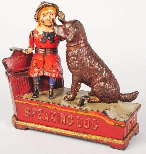 772: Cast Iron Speaking Dog Mechanical Bank.