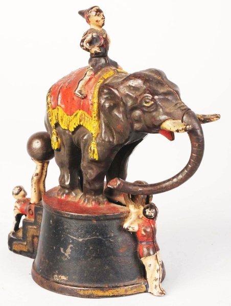 775: Cast Iron Elephant & 3 Clowns Mechanical Bank.