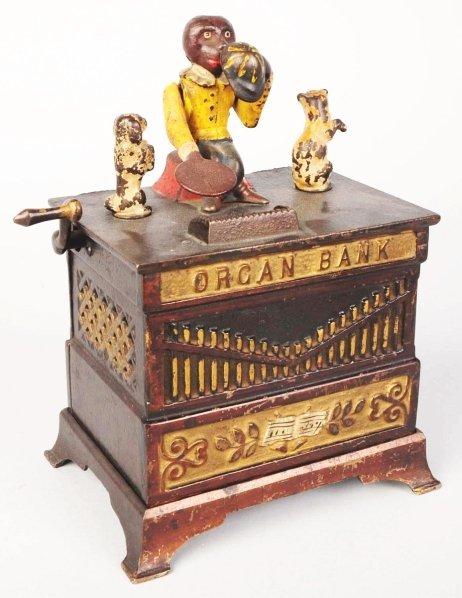 776: Cast Iron Organ Mechanical Bank.