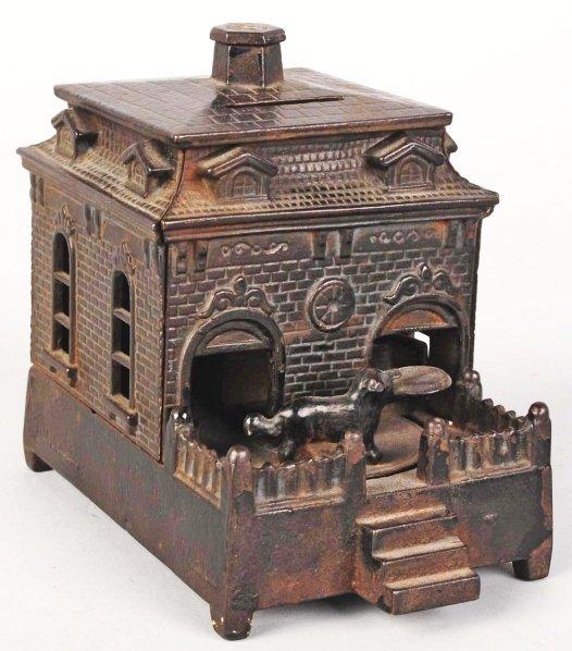 780: Cast Iron Dog on Turntable Mechanical Bank.