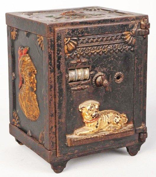 781: Cast Iron Watch Dog Safe Mechanical Bank.