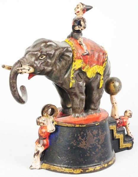783: Cast Iron Elephant & 3 Clowns Mechanical Bank.