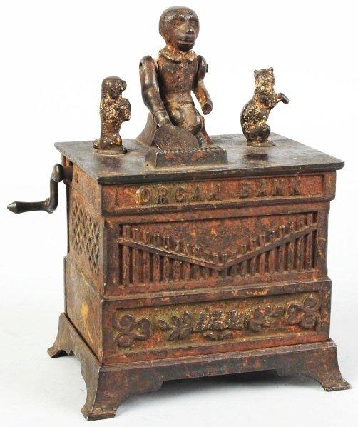 786: Cast Iron Organ Mechanical Bank.