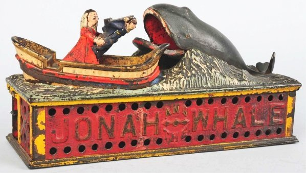 795: Cast Iron Jonah & the Whale Mechanical Bank.