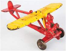 896: Cast Iron Hubley Lindy Glider Airplane Toy.