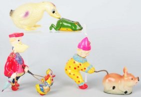 Lot Of 3: Celluloid & Tin Animal Wind-Up Toys.