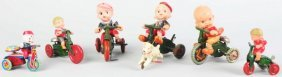 Lot Of 6: Tin & Celluloid Cycle Wind-Up Toys.
