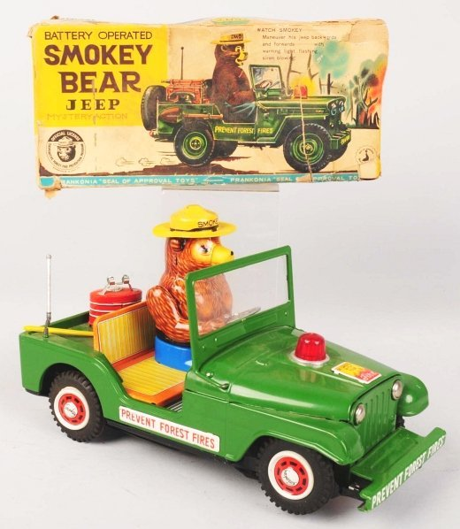 1115: Scarce Smokey Bear Jeep Battery-Operated Toy.