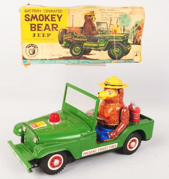 1115: Scarce Smokey Bear Jeep Battery-Operated Toy. - 2