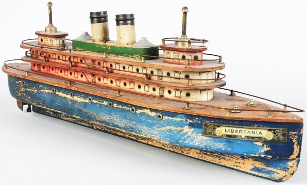 1162: Wooden Libertania Clockwork Steam Boat.