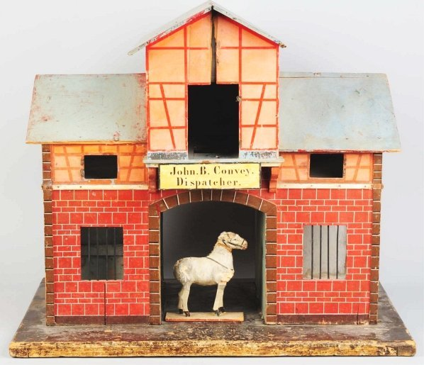 1166: Large Wooden Horse Stable Toy.