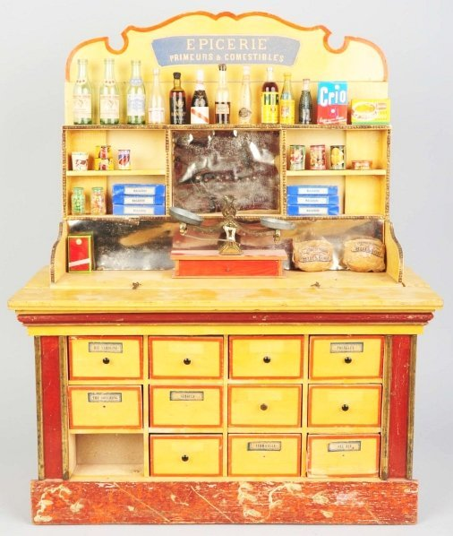 1168: Large Wooden Grocery Display Unit.