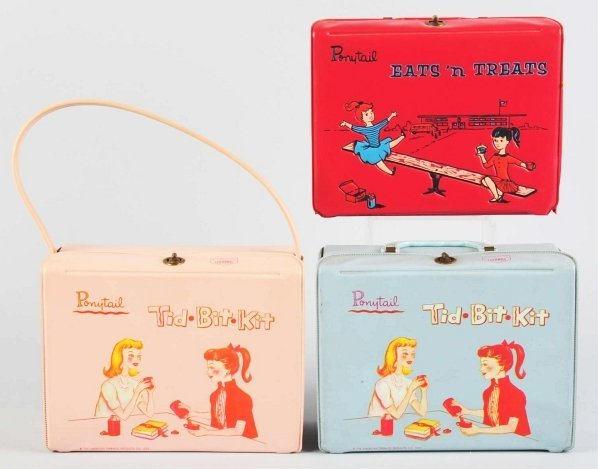 1170: Lot of 3: Vinyl Ponytail Lunch Boxes.