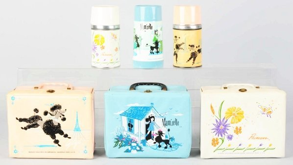 1172: Lot of 3: Vinyl Dog-Related & Cutesy Lunch Boxes.