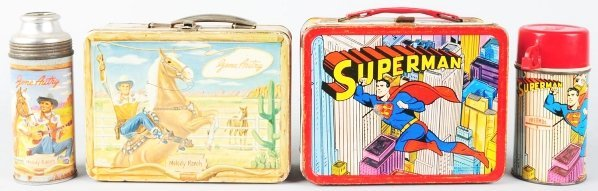 1173: Lot of 2: Tin Litho Character Lunch Boxes.