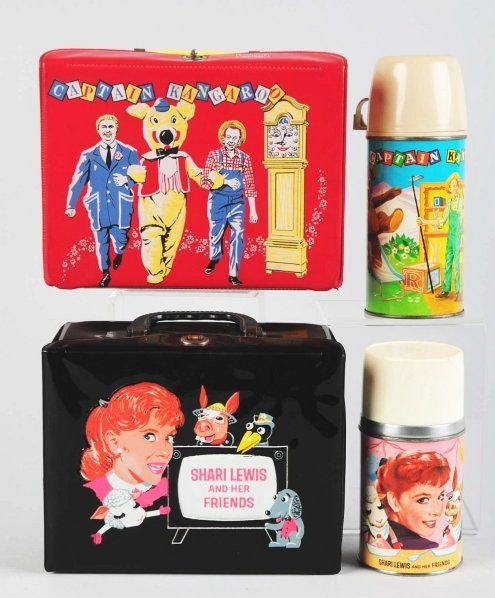 1177: Lot of 2: Vinyl TV Character Lunch Boxes.