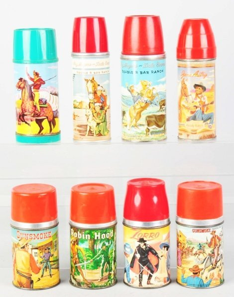1178: Lot of 8: Vintage Lunch Box Thermoses.