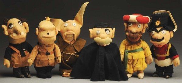 1226: Lot of 6: Cloth & Felt Political Satire Dolls.