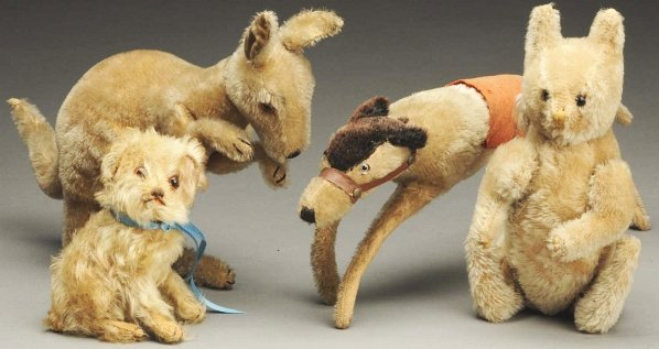 1260: Lot of 4: Stuffed Mohair Animals.