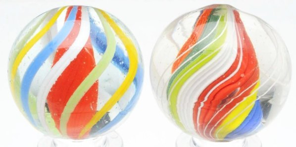 15: Lot of 2: Brightly Colored English Swirl Marbles.