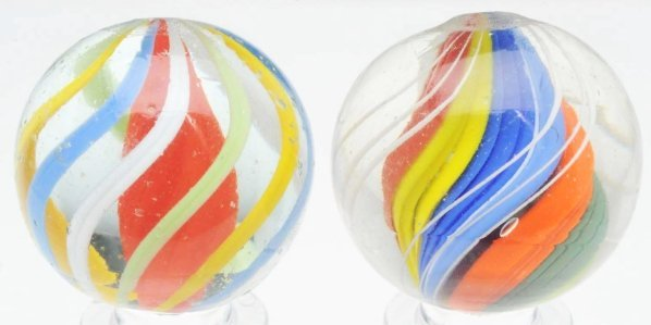 15: Lot of 2: Brightly Colored English Swirl Marbles. - 2