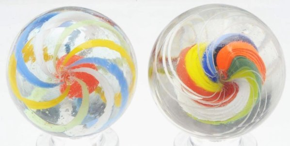 15: Lot of 2: Brightly Colored English Swirl Marbles. - 3