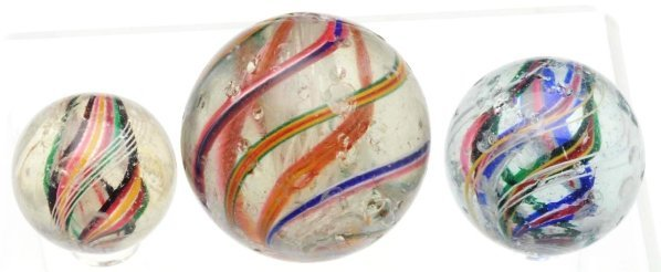 17: Lot of 3: Swirl Marbles.