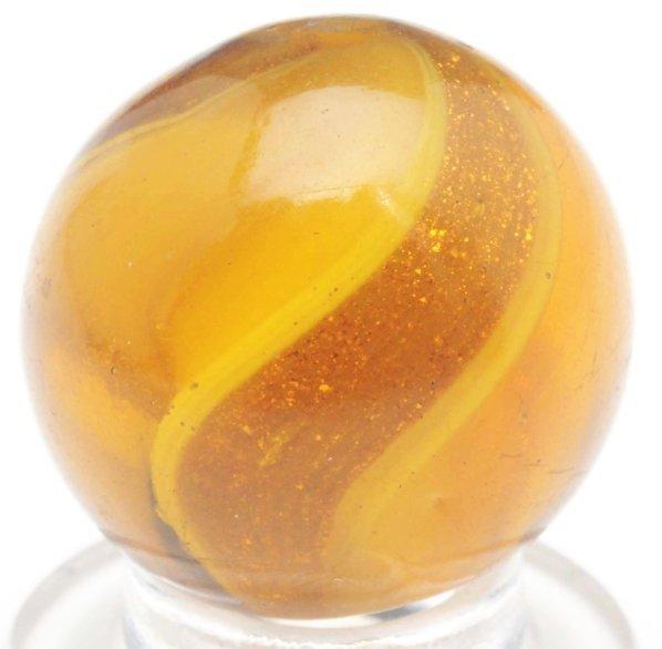 49: Honey Amber Glass Ribbon Lutz Marble.