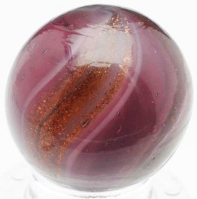 Rare Dark Purple Glass Ribbon Lutz Marble.
