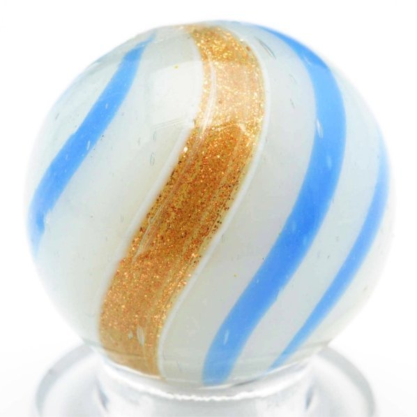 53: White Opaque Banded Lutz Marble.