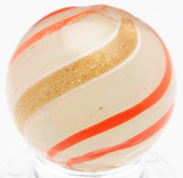 55: Semi-Opaque White Glass Banded Lutz.