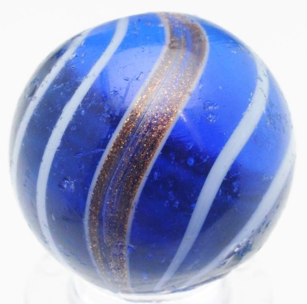 57: Blue Glass Banded Lutz Marble.