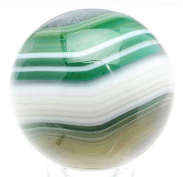 63: Hand Faceted Bullseye Green-Dyed Agate Marble.