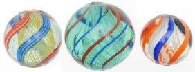 Lot Of 3: Latticino Swirl Marbles.