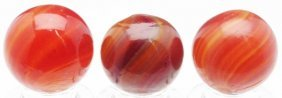Lot Of 3: Butterscotch Swirl Marbles.