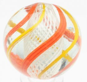 English Style White Latticino Swirl Marble.
