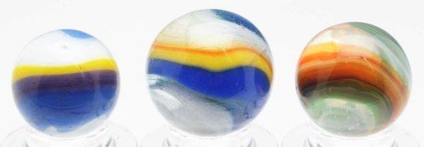 370: Lot of 3: Akro Agate Hybrid Popeye Marbles.