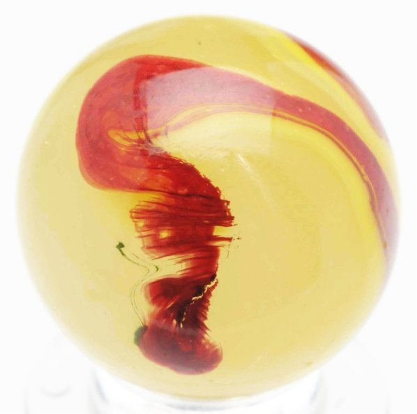 372: Akro Agate Egg Yolk Oxblood Marble.
