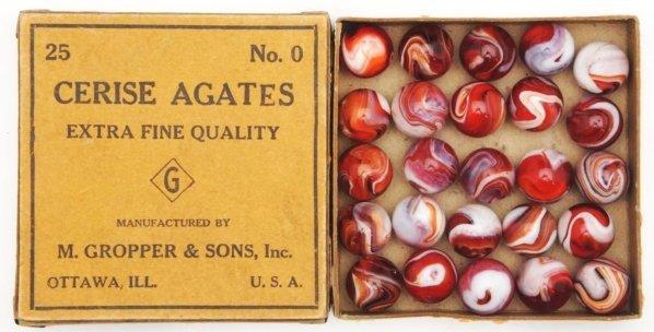 384: No. 0 Cerise Agate Marble Box.